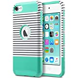 ULAK iPod 5 Case, iPod Touch 6 Case Dual Layer Hybrid Hard PC + TPU Protective Case Cover for Apple iPod touch 5th 6th Generation (Mint/White)