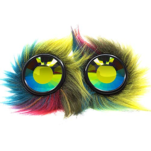 (GloFX Party Animal Furry Goggles - Wormhole Kaleidoscope - Rave EDM Festival Cosplay Goggle)