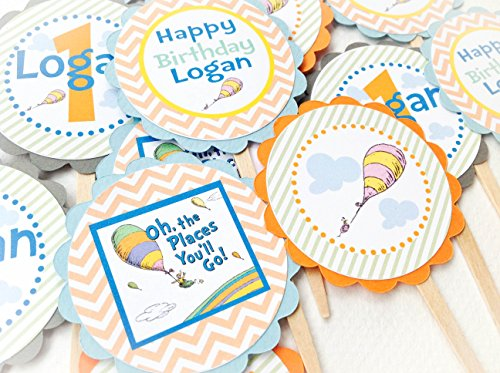 12 Cupcake Toppers - Oh The Places You'll Go Inspired Collection - Pastel Orange Chevron, Green Stripes, Blue Gray & Orange Accents -