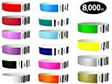 Goldistock 3/4'' Tyvek Wristbands Max Value 16 Color Variey Pack- 8,000 Ct. (500/EA)- Green, Blue (2 Colors), Yellow, Red(2), Orange, Pink, Purple(2), Aqua, Teal, Metallic Gold & Silver, Black, & White