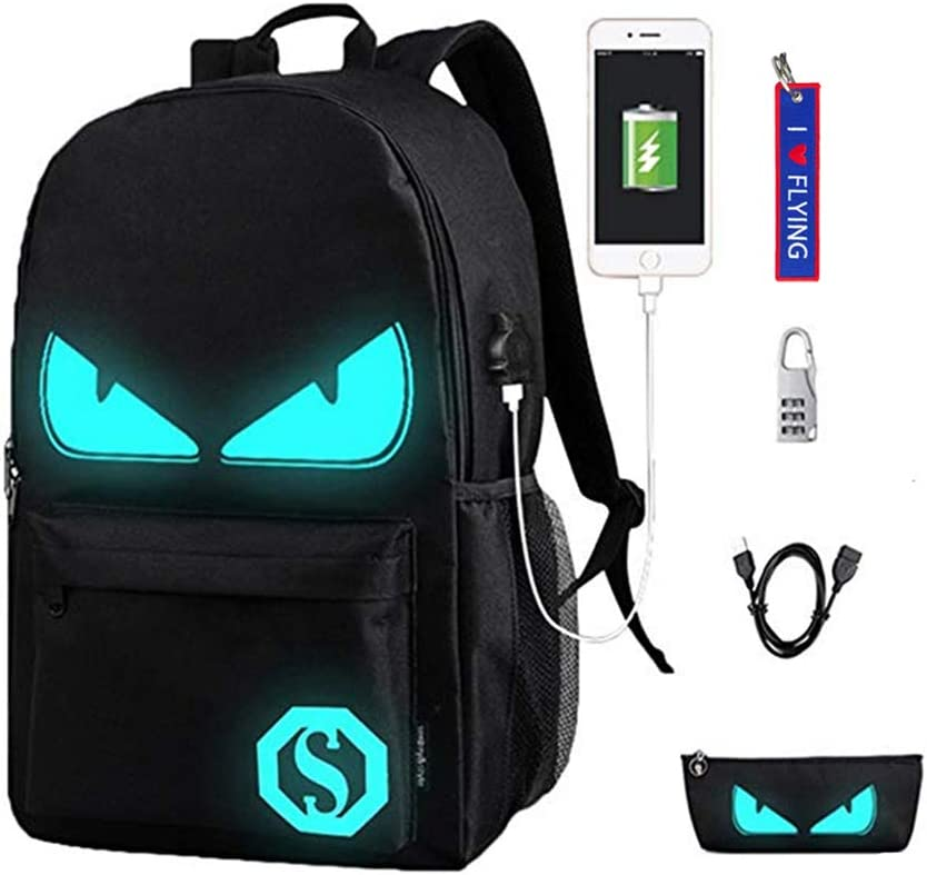 WYCY Anime Cartoon Luminous Backpack Mochila de Moda con Puerto de Carga USB y antirrobo Lock & Pencil Case, Mochila Escolar Unisex Bookbag con Bordado Llavero Colgante(Ojos del Diablo Negro)