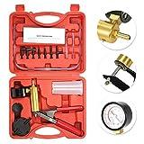 KKmoon 17pcs Professional Car Auto Hand Held Vacuum Pressure Pump Brake Bleeder Adaptor Fluid Reservoir Tester Vacuum Bleeding Test Kits Kits 2 in 1 Tool Kit Vacuum Tester
