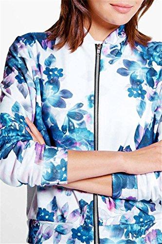 Flores Flight Cazadora Azul Jacket Delantera Bomber Blanco Impresión Chaqueta Aviator Zip Flor de Top Aviador Up Rose Cremallera Collar Chamarra Vuelo Zipper CqB5Svw
