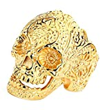 Bishilin Stainless Steel Mens Gothic Biker Oxidized Jewelry Skull Ring Size 8