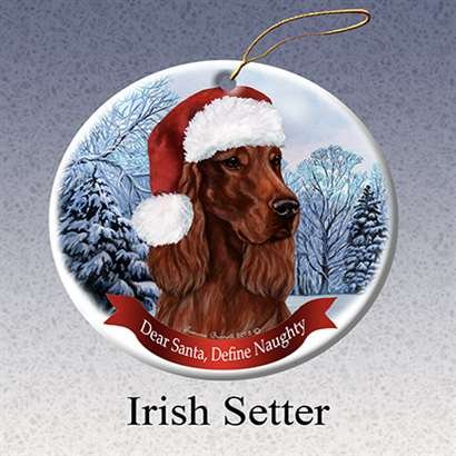 Holiday Pet Gifts Irish Setter Santa Hat Dog Porcelain Christmas Tree Ornament