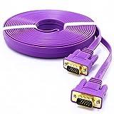 DTECH Ultra Slim Flat VGA to VGA Cable 10 Feet in Purple 3m