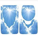 Keshia Dwete three-piece toilet seat pad customApartment Collection Cloud Frame Skylight To Clear Sky Sunny Day Decorative Nature Picture Scene White Blue