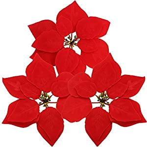"Supla 30 Pcs Velvet Poinsettia Flower Heads 8.3"" Bloom Diameter Artificial Poinsettia Silk Floral Heads Christmas Tree Ornaments DIY Holiday Floral Arrangements 9"