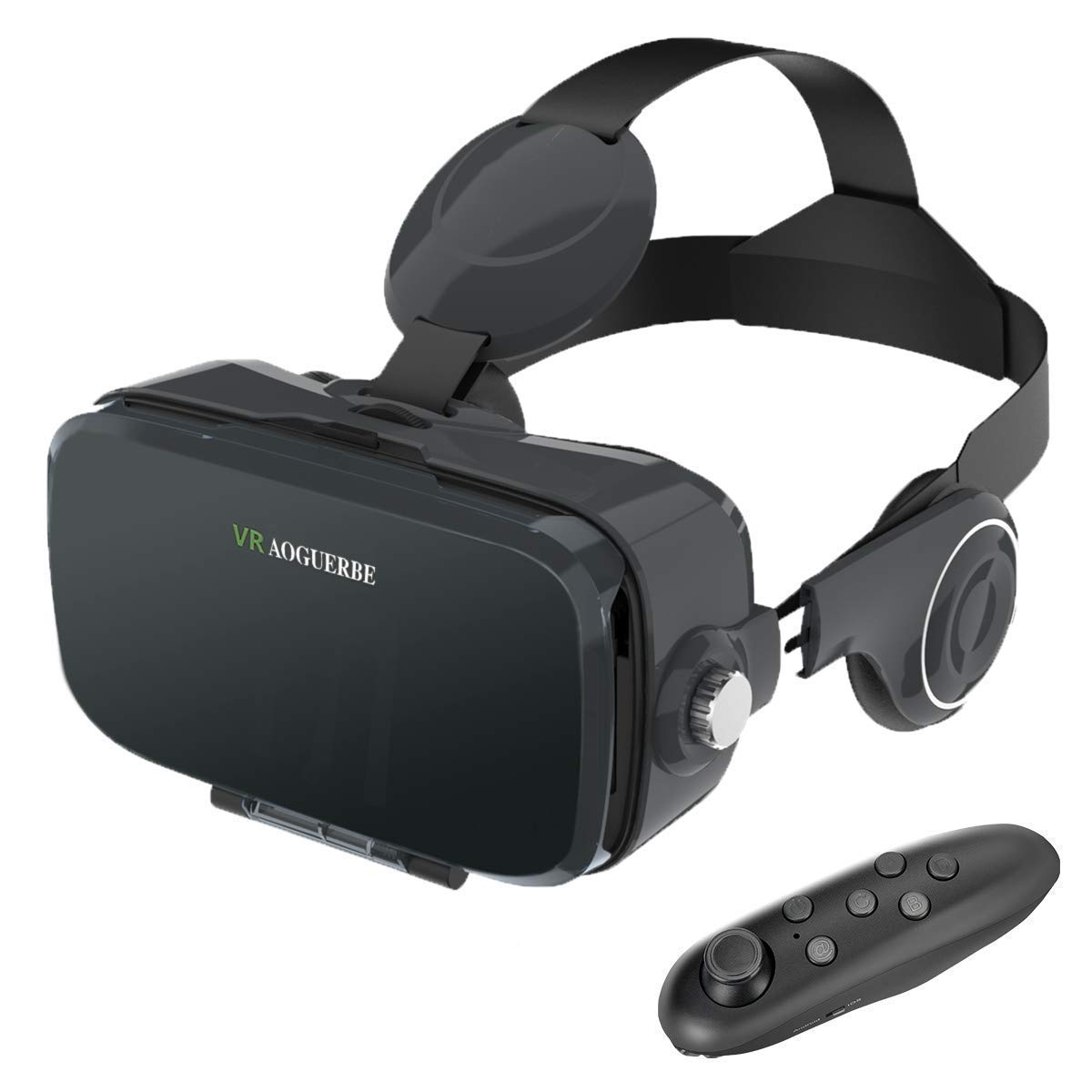 AOGUERBE VR Headset, VR Goggles Box Virtual Reality Headset Bluetooth Controller 3D VR Glasses for TV Movies Video Games with iPhone Xs XR X 8 7 6/Plus, for Samsung s9 s8 s6 4.0-6.0 in Screen - Black by AOGUERBE