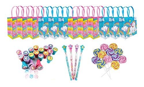 Multipoint Set - TINYMILLS Unicorn Birthday Party Favor Set of 60 pcs (12 Treat Bags, 24 stampers, 12 Multi-Point Pencils, 12 Lollipop erasers)