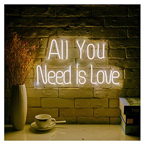 All You Need is Love LED Neon Sign Lights Art Wall Decorative Lights 19.6''x11.7 (Warm White)