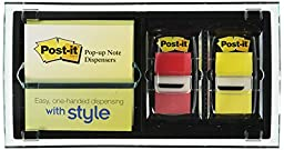 Post-it Pop-up Note and Flag Dispenser for 3 x 3-Inch Notes, Includes Canary Yellow Notes and two Flag Dispensers (Colors May Vary)
