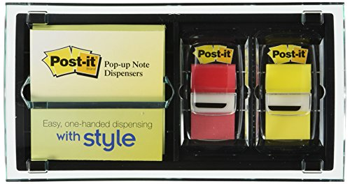 Post-it Pop-up Note and Flag Dispenser for 3 x 3-Inch Notes, Includes Canary Yellow Notes and two Flag Dispensers (Colors May Vary) (Post It Dispenser 3m Flag)