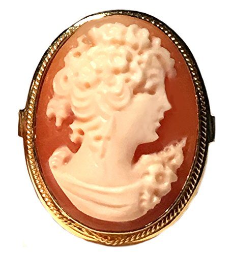 (Cameo Ring Reflection of Youth Master Carved, Shell Sterling Silver 18k Gold Overlay Italian Size 7.75)