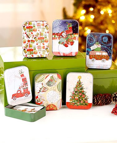 Sets of 6 Tin Gift Card Holders ( Traditional )