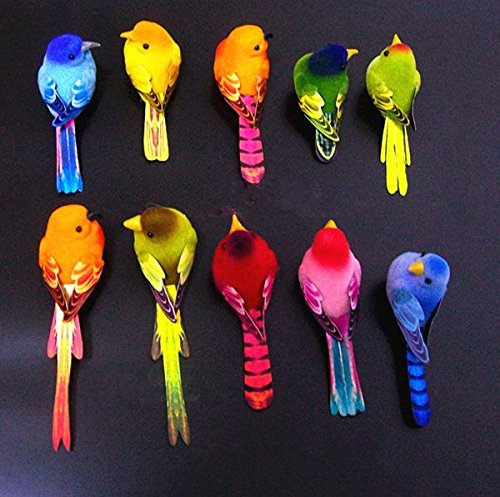 URToys 10Pcs 6-10CM Multi Colors Decorative Artificial Foam Mini Love Birds With Magnet Bird Ornaments Home DIY Craft For Wedding Decoration Party Accessories