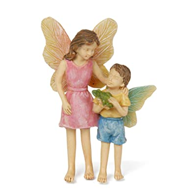 Look What I Found Fairy Children Pink and Blue 8 Inch Resin Stone Outdoor Statue : Garden & Outdoor