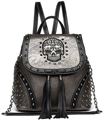 Women Leather Punk Skull Rivet Shoulder Bag Handbag - 4