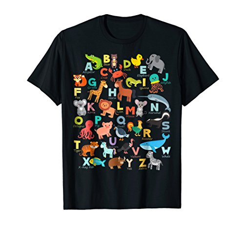 (Alphabet Animal ABCs Learning Shirt for boys, girls,)