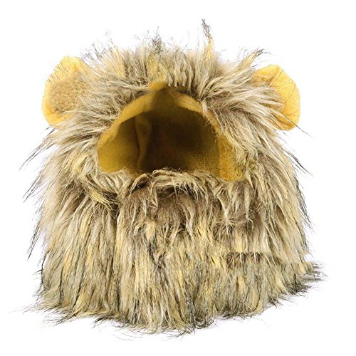 [TOPSUNG Dog Cat Halloween Costume Lion Mane Wig Dress up with Ears for Small Dog Cat Pets] (Make Lion Costume For Dogs)