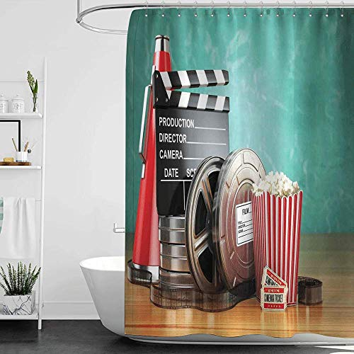 homecoco Shower Curtains red Color Movie Theater,Production Theme 3D Film Reels Clapperboard Tickets Popcorn and Megaphone,Multicolor W55 x L84,Shower Curtain for Shower stall