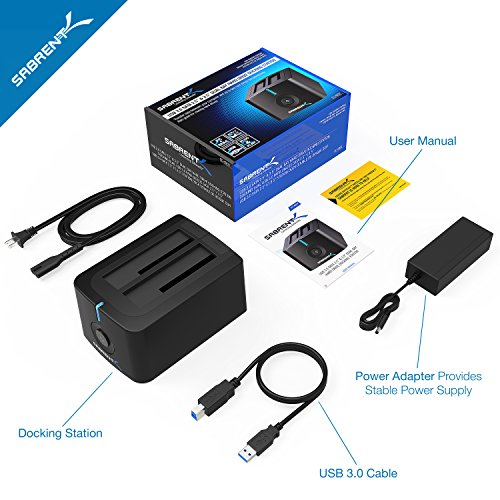 Sabrent USB 3.0 to SATA Dual Bay External Hard Drive Docking Station for 2.5 or 3.5in HDD, SSD with Hard Drive Duplicator/Cloner Function [4TB Support] (EC-HDD2)