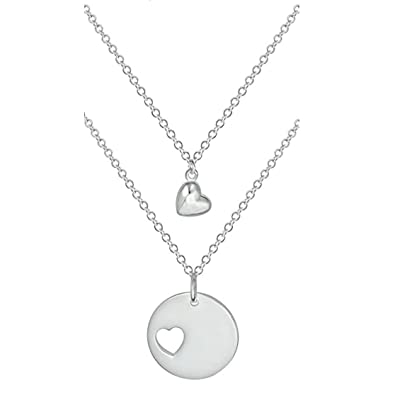 Amazon mother daughter necklaces for 2 sterling silver plated mother daughter necklaces for 2 sterling silver plated heart charm heart cut out necklaces aloadofball Images