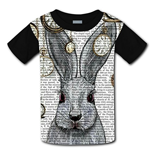 Alice Rabbit Bunny Hare T-shirts for Kids Tee Shirt Tops Short Sleeve Costume L - Youth Alice In Wonderland Costume