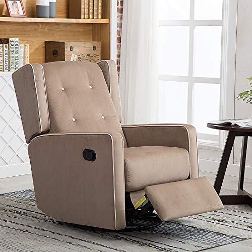 CANMOV Microfiber Swivel Rocker Recliner Living Room Chair, Soft Fabric with Single Seat Manual Reclining Chair, Mocha