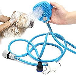 BMBZON Pet Shower Sprayer Pet Bathing Tool Multi-Functional Bath Hose Sprayer and Scrubber in One, Dog Cat Grooming Bath Massager Adjustable Handheld Sprayer Shampoo Brush Indoor and Outdoor Use