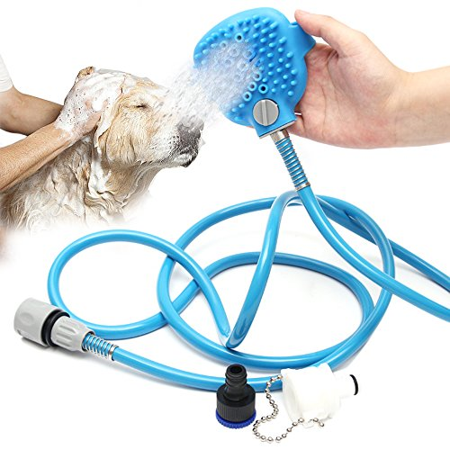 BMBZON Pet Shower Sprayer Pet Bathing Tool Multi-Functional Bath Hose Sprayer and Scrubber in One, Dog Cat Grooming Bath Massager Adjustable Handheld Sprayer Shampoo Brush Indoor and Outdoor (Dog Bath Hose)