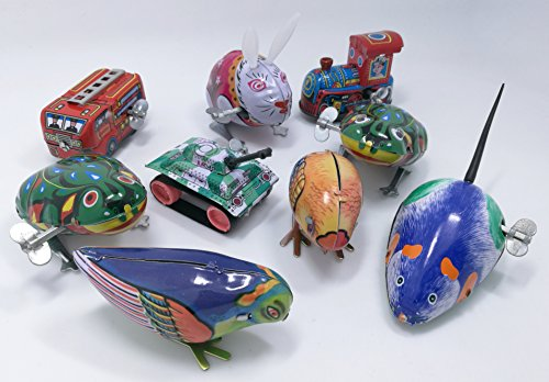 9 pcs Box Collection of retro vintage wind-up metal tin toys, cool crazy gift, frog, rabbit, bird, chick, truck, locomotive, mouse, tank by 3pdt (Image #1)
