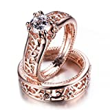 WOWJEW Vintage Elegant White Sapphire Jewelry 14KT Rose Gold Filled Ring Set Couples Sets Wedding Engage Rings