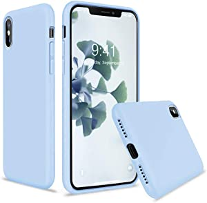 Vooii iPhone Xs Case, iPhone X Case, Soft Liquid Silicone Slim Rubber Full Body Protective iPhone Xs/X Case Cover (with Soft Microfiber Lining) Design for iPhone X iPhone Xs - Light Blue