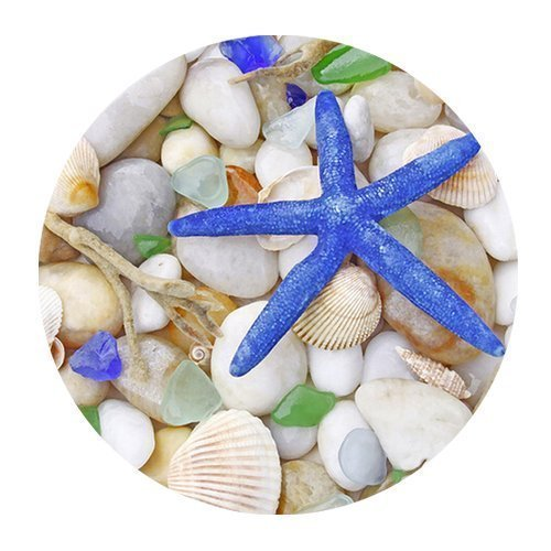 FineMousePad Fantastic Blue Starfish and Sea Shell Personalized Custom Design Round Mouse Pad in 8 Durable Rubber Mouse Mat