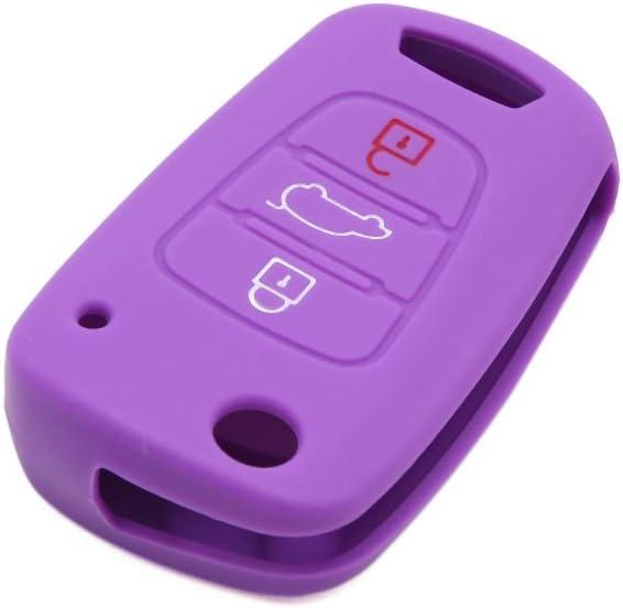uxcell Purple Silicone Three Button Car Remote Key Cover Case Protective for Kia K3 K3S KX3 Sportage