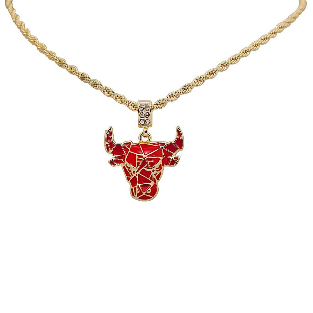 Yellow Gold-Tone Iced Out Hip Hop Bling Cubic Zirconia Red Bull Pendant with 24'' Rope Chain