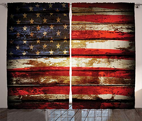 - Ambesonne American Flag Decor Curtains, Us Symbolism Over Old Rusty Tones Weathered Vintage Social Plank Artwork, Living Room Bedroom Window Drapes 2 Panel Set, 108 W X 96 L Inches, Multi