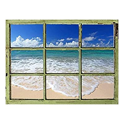 Window View Wall Mural - Tropical Beach and Clear Waves - Vintage Style Wall Decor - Peel and Stick Adhesive Vinyl Material - 36x48 inches