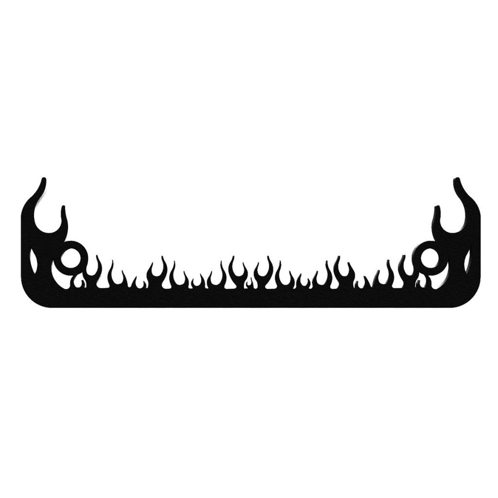 1 Piece LIC-113-Black Ferreus Industries Black Powdercoat Motorcycle License Plate Frame Small Flame Fire Fighter Small Flame