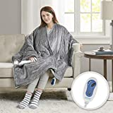 Comfort Spaces Plush to Sherpa 2 Piece Electric Wrap Blanket and Socks Set Ultra Soft Warm Reversible Heated Poncho Throw, Solid, Grey
