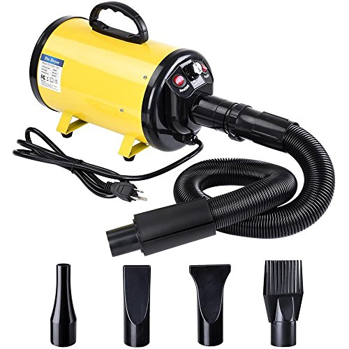 Blower Dishwasher (NEW Yellow Portable Pet Hair Dryer Quick Blower Heater w/ 4 Nozzles Dog Cat Grooming Metal + Copper motor + PP plastic)