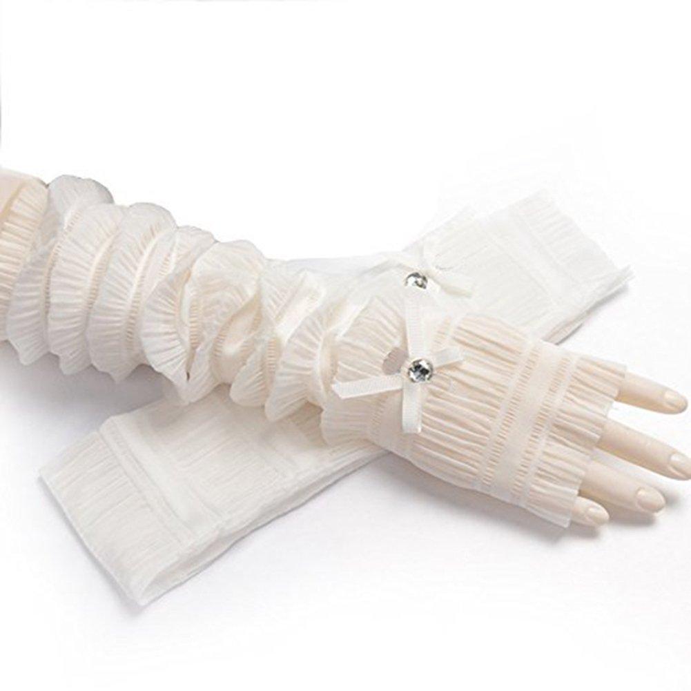 EBRICKON Summer Driver Arm Sleeves Women UV Sun Protection Golf Driving Cover Gloves Long Sunscreen Arms Gloves (White)