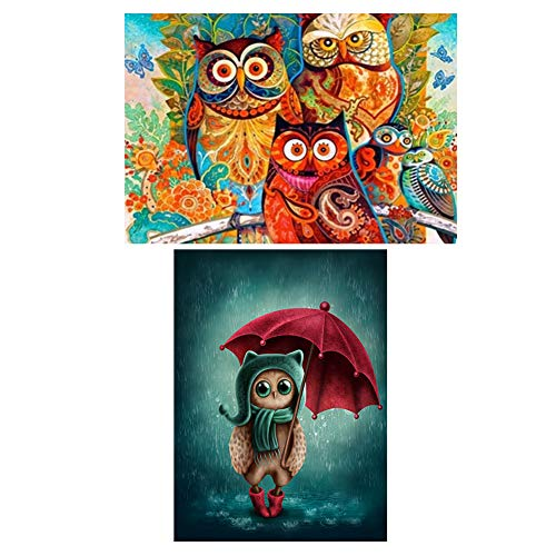 2-Pack Owl Birds DIY 5D Diamond Painting Kits For Kids, Hotai Painting Cross Stitch Full Drill Crystal Rhinestone Painting By Number Kits, 11.8 x 15.7 inch