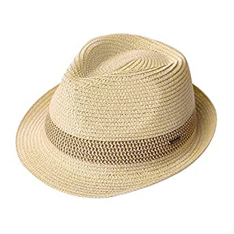 Mens Straw Panama Fedora Packable Sun Summer Beach Hat Trilby Women Beige