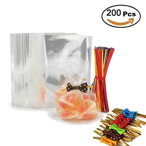 200 Clear Treat Bags with 200 Pcs Twist Ties 20 Bowknot 5 Colors?Clear Cellophone Bags Party Favor Bags for Lollipop Cake Pop Candy Buffet Chocolate Cookie Wedding Supply (3 x 4)
