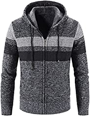 Mens Full Zip Knitted Cardigan Sweater, Casual Slim Fit Color Matching Thick Plus Velvet Drawstring Hoodie Jac