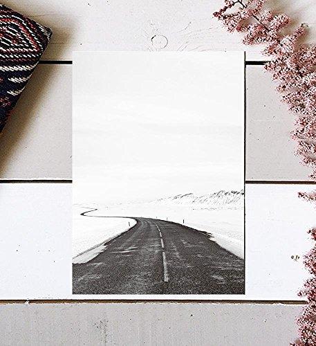 Black and White Photography, Winter Photography, Scandinavian Art, Minimalist Photography, Nordic Art, Nordic Print, Road Print, Minimalist Art, Winter Art Print, Modern Print, Black Wall Decor, 8x10 by MotivatedWallArt