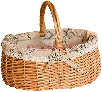 Artibetter Rattan Wicker Gift Basket Outdoor Picnic Basket Pastoral Style Large Storage Basket Flower Basket Wedding Party Decoration Size S