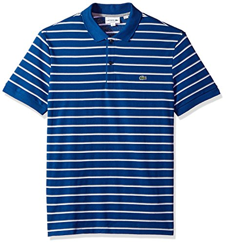 Lacoste Men's Short Sleeve Striped Mini Pique Regular Fit Polo, PH3150, Marino/White-Platinum, - Ribbed Shirt Striped Polo